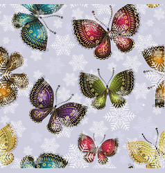 bright spring butterflies swirl in a snowy vector image