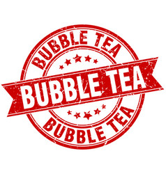 Bubble tea round grunge ribbon stamp vector