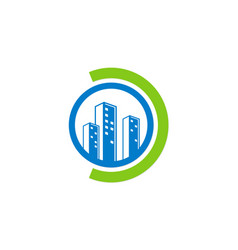 Building cityscape construction company logo vector