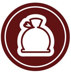 Bulging sack circular icon vector