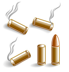 Bullets and used cartridges set ammo for 9mm vector