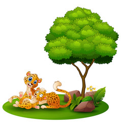 Cartoon adult cheetah with cub cheetah under a tre vector
