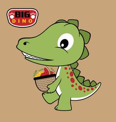 Cartoon dino brings fruits with basket vector