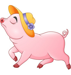 cartoon pig walking with straw hat vector image