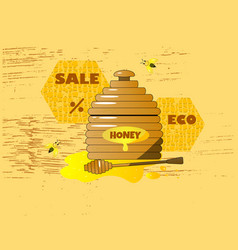 cartoon pot with wooden honey vector image