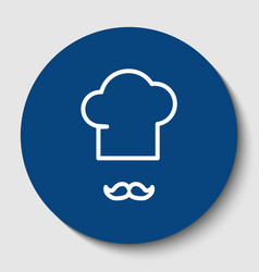 chef hat and moustache sign white contour vector image