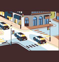 Cityscape with cars driving along road beautiful vector