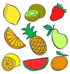 Collection of fruit various doodles vector