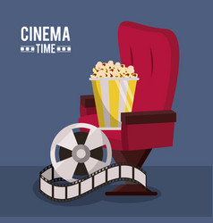 Colorful poster of cinema time with cinema chair vector
