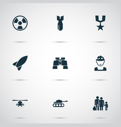 Combat icons set includes icons such as chopper vector