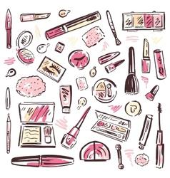 Cosmetics Makeup set vector