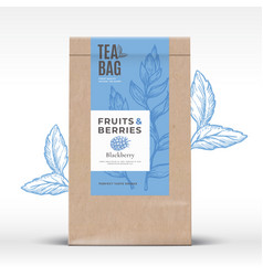 Craft paper bag with fruit and berries tea label vector