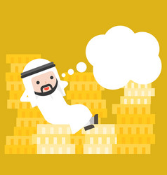 Cute arab businessman lay down on pile of money vector