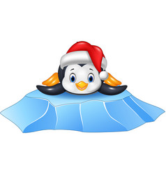 Cute baby penguin on ice floe vector