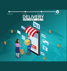 Delivery on smartphone with online store courier vector