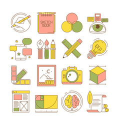 Design process icons packing art creative web vector
