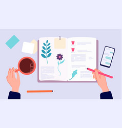 Diary writing person drawing in sketchbook top vector
