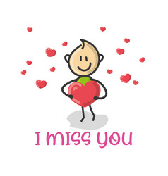 doodle cartoon figure i miss you vector image