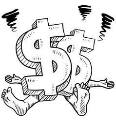 doodle squish dollar symbol vector image