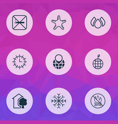 Ecology icons set with nature globe pointer vector