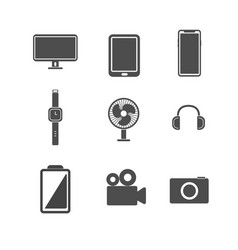 electronic icon set concept isolated white vector image