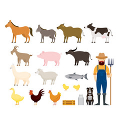 farm animals set with farmer and dog vector image
