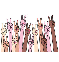 female hands with peace and female sign vector image