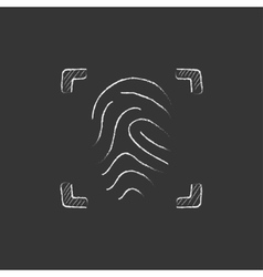 Fingerprint scanning Drawn in chalk icon vector