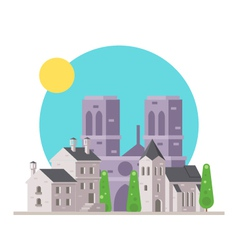 Flat design of Notre Dame France with village vector