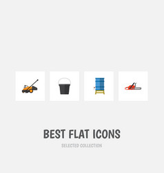 flat icon garden set of lawn mower container vector image