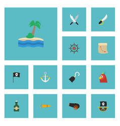 flat icons treasure map ship steering wheel vector image