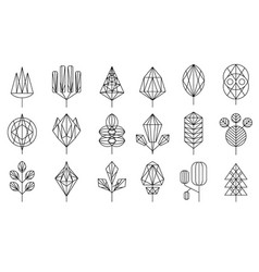 geometrical leaves and trees big set collection vector image