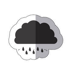 Gray silhouette sticker of cloud with drizzle vector