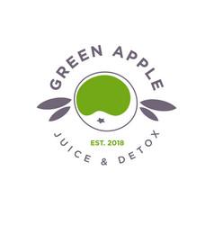 Green apple logo juice detox health emblem vector