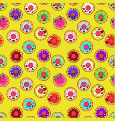 happy donuts seamless pattern background perfect vector image