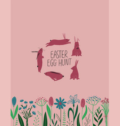Happy easter greeting card with funny rabbits vector
