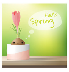 hello spring background with spring flower crocus vector image