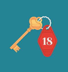 Hotel door lock key with room number badge vector