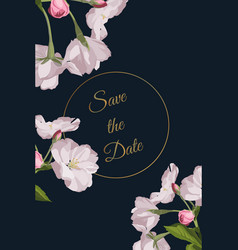 Invitation cards with beautiful charry blossom vector