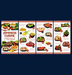 Japanese cuisine restaurant menu cover vector