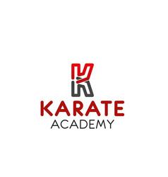 karate academy letter k icon vector image