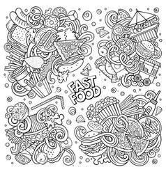 line art doodles cartoon set fastfood vector image