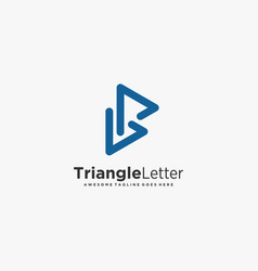 logo triangle letter p line art style vector image