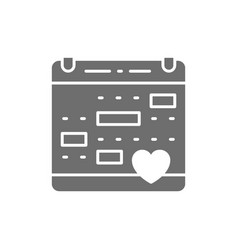 love calendar wedding date valentines day grey vector image