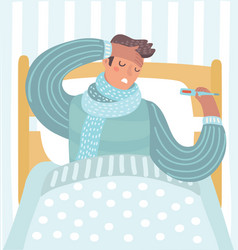 man feeling bad lying in the bed and coughing vector image