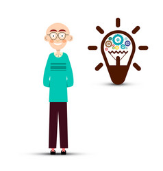 man with cogs inside bulb idea symbol isolated on vector image