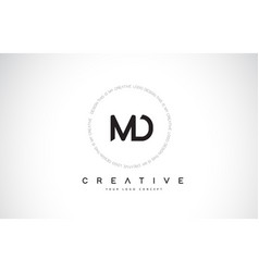 Md m d logo design with black and white creative vector