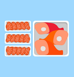 Meat steaks and chicken lamb or pig legs in tray vector