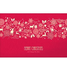 Merry christmas happy new year card pattern deer vector image