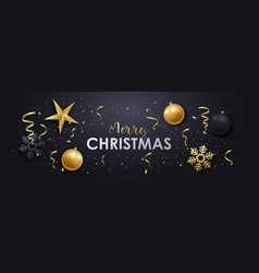 merry christmas realistic banner design vector image